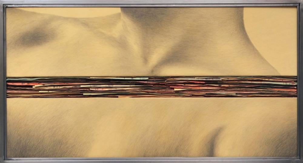 Senza titolo, 2008  Grafite e tecnica mista su carta incollata su legno, ferro, vetro  cm70 x 130 x 7