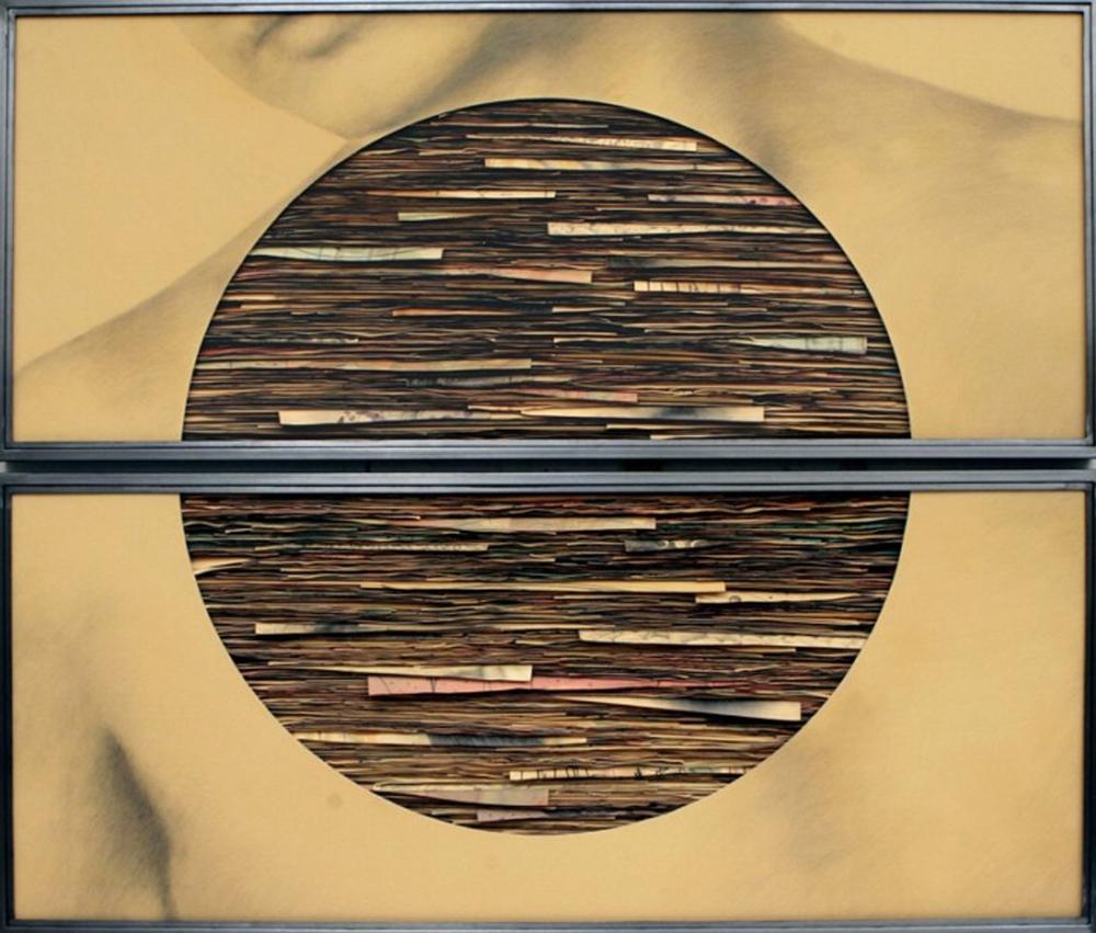 Senza titolo, 2008  Grafite e tecnica mista su carta incollata su legno, ferro, vetro  cm 140 x 170 x 7