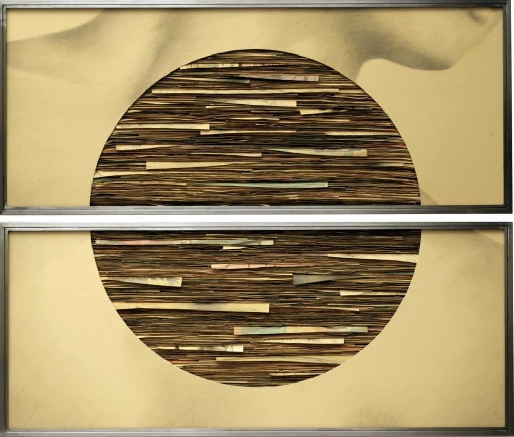 Senza titolo, 2008  Grafite e tecnica mista su carta incollata su legno, ferro, vetro  cm 140 x 170 x
