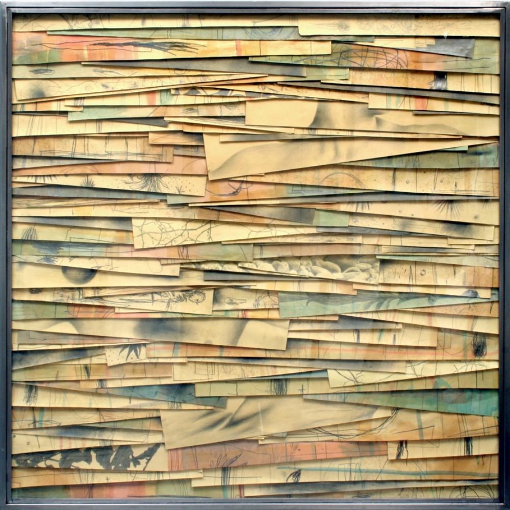 Senza titolo, 2008  Grafite e tecnica mista su carta incollata su legno, ferro, vetro  cm 150 x 150 x 7