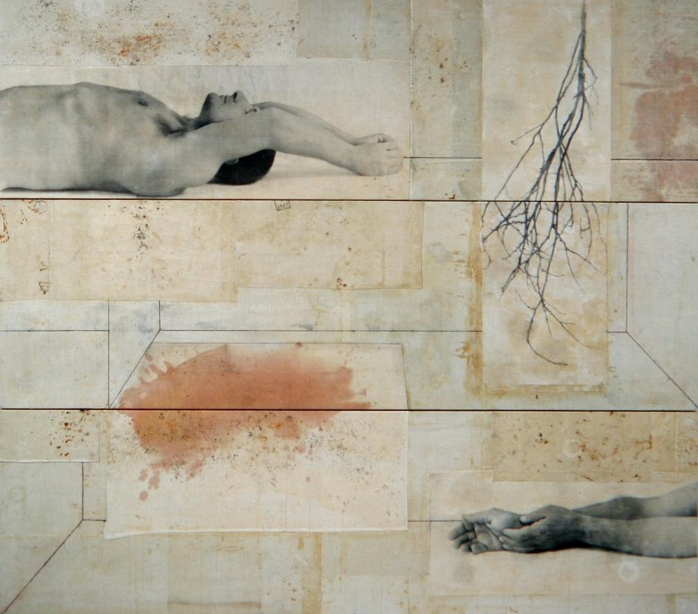 Senza titolo, 2003  Tecnica mista ed emulsione fotografica su tela  cm. 240 x 270
