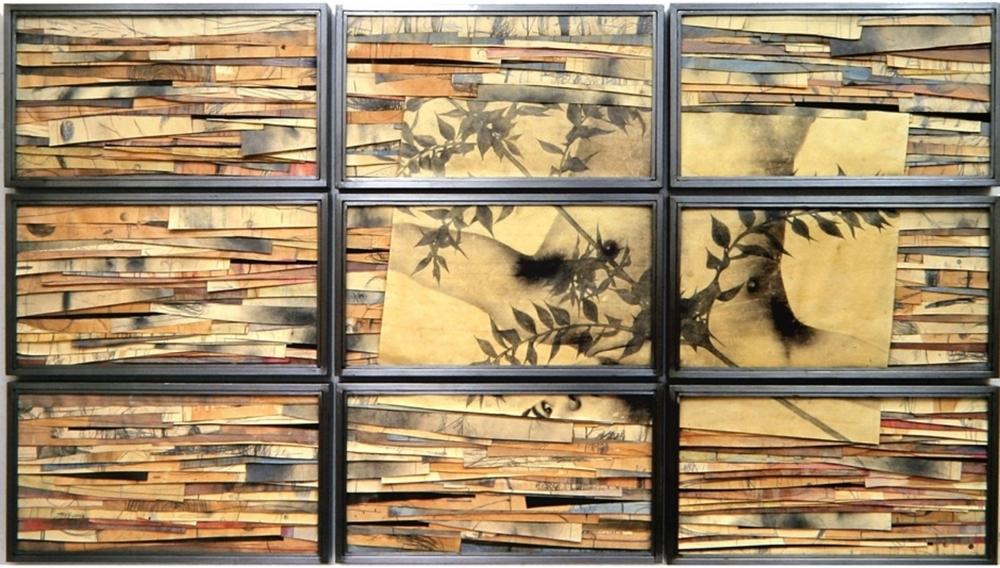 Senza titolo, 2002  Tecnica mista ed emulsione fotografica su carta, ferro, vetro  Polittico, 9 elementi cm.150 x 270