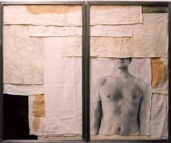 Senza titolo 2004  emulsione fotografica,gommalacca e grafite su stoffa,ferro, vetro  cm. 150x180