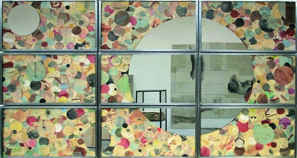 Senza titolo , 2013  Tecnica mista su carta, specchio, ferro, vetro  Polittico, 9 elementi cm.150 x 270