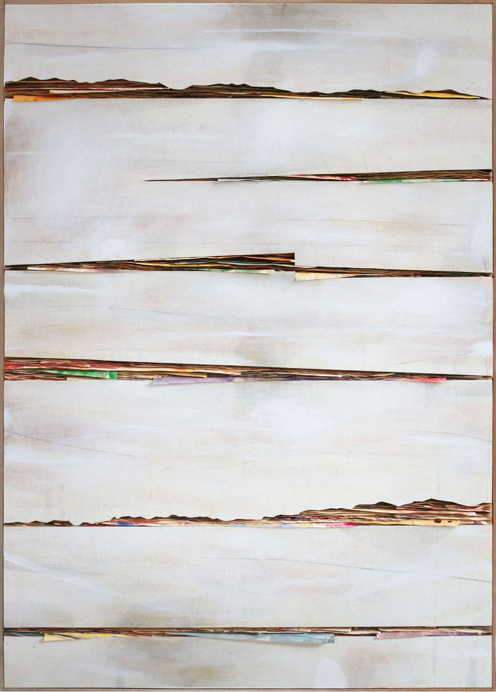 Senza titolo 2018,  tecnica mista su carta e tela incollata su legno, cm. 200 x  140