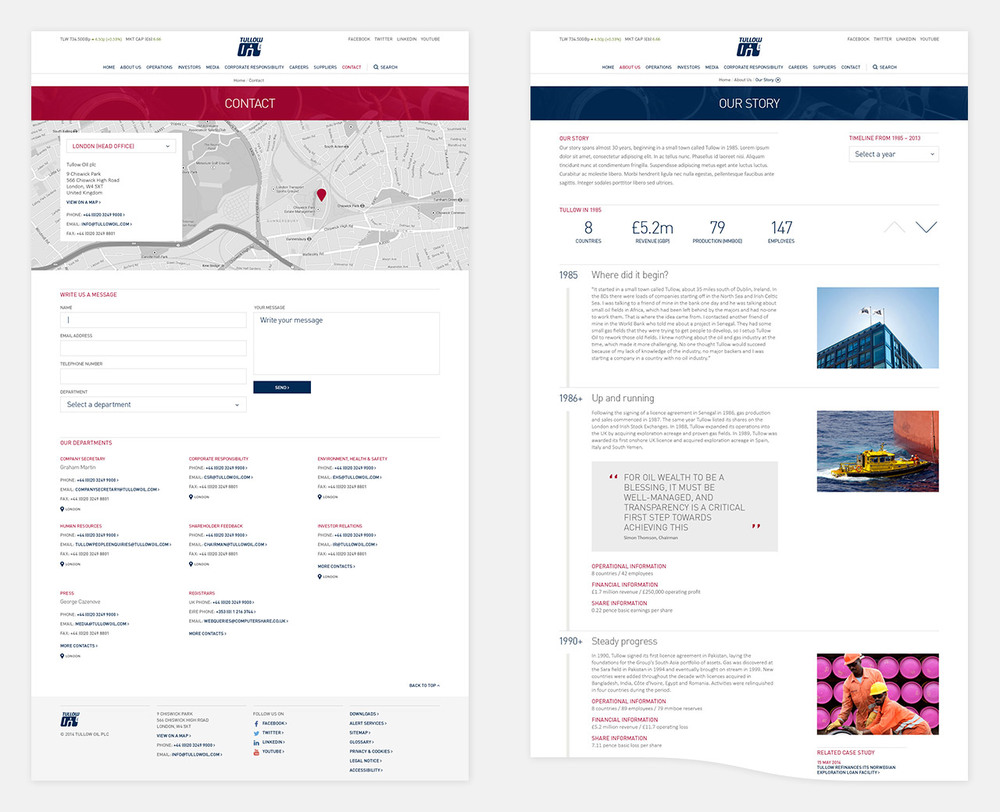 Contact and Story page