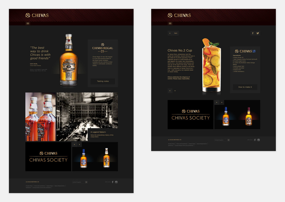 Chivas Regal 25 profile & Chivas 18 mixology page