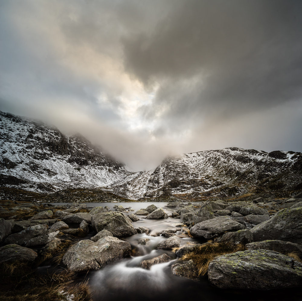 Standing in a stream from Llyn Bochlwyd.  18mm, ISO 100, f/8, 13 seconds.