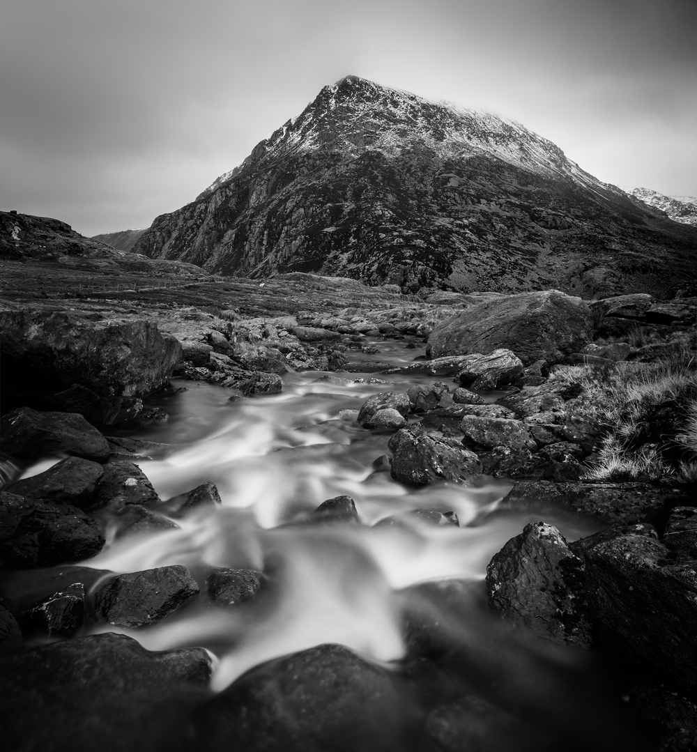 Vertical panorama of Pen yr Ole Wen from a stream.  28mm, ISO100, f/6.3, 25 seconds.