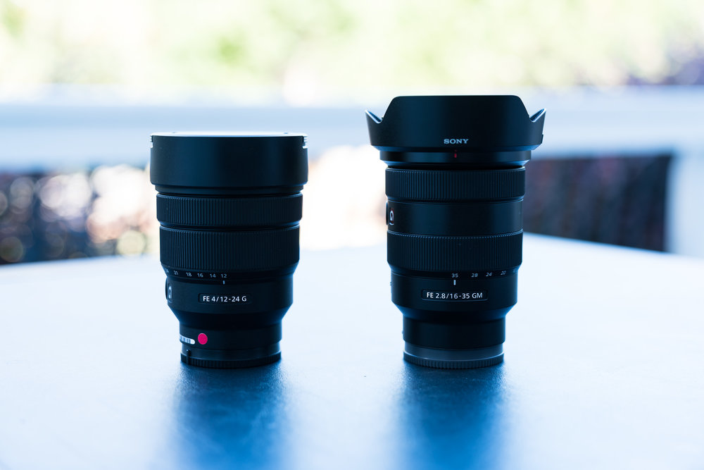 Sony 12-24mm G f/4 left, Sony 16-35mm GM f/2.8 right.
