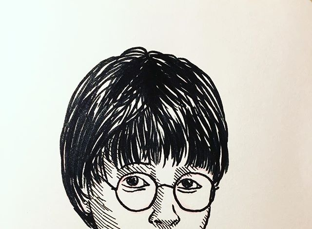You don't really realise how tall Daniel Radcliffe's hair is until you replicate it in a drawing. #inktober