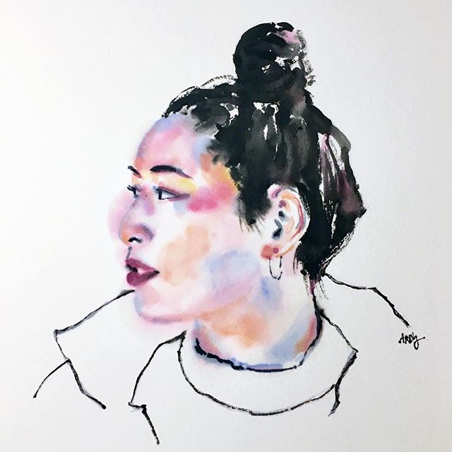 Watercolour on bamboo paper for a diffused effect 💫 • • • • • •  #artoftheday #ink #watercolour #watercolor #illustrator #art #artist #portrait #illustration #paint #painting #colour #pigment #pigmenttokyo #tokyo #brush