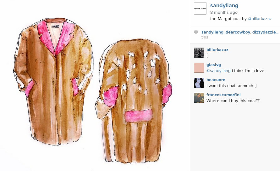 SANDY LIANG is someone to watch in the fashion world. This is a drawing I made for her of the Margot Coat that is all mink. I can't wait to draw more pieces from her new collection for SS15.