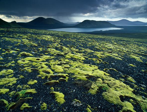 Lava fields in storm in Landmannalaugar