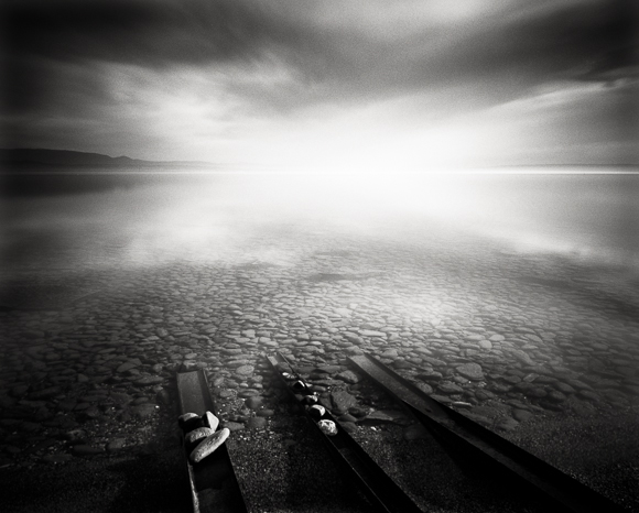 Title: Three Trails 2, Camera: Ebony RSW 45, Lens: Rodenstock Apo-Grandagon 45 mm, Filter: Lee Big Stopper, Film: Kodak T-Max 100, Exposure: 230″, f 16, Lac Geneva, France, 2012