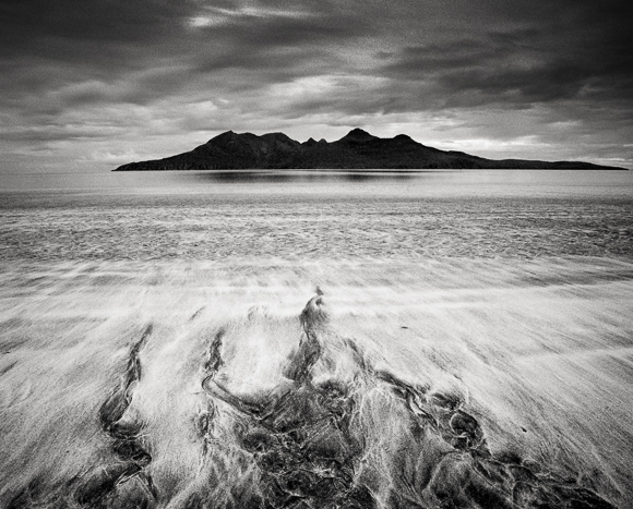 Title: Bay of Laig, Study 1, Camera: Mamiya RB Pro SD, Lens: Mamiya Sekor 50 mm, Filter: Lee Big Stopper and Lee Hard Grad 0.3, Film: Kodak T-Max 400, Exposure: 160″, f 16, Isle of Eigg, Scotland, 2013
