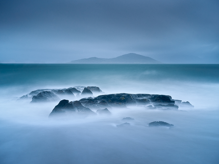 Caption: Hebridean Blues, Camera: Phase One 645DF+, Lens: Schneider-Kreuznach 45mm, Digital Back: Phase One IQ250, ISO: 200, Speed: 1m 57s, Aperture: f/11, Filters: Lee ND Graduated Soft 0.45, Lee Big Stopper