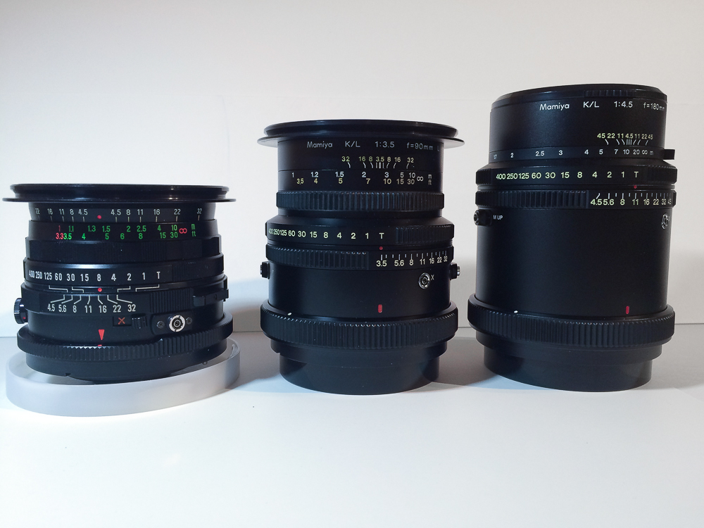 All my Mamiya RB 67 lenses ( Sekor C 50, Sekor K/L 90 and Sekor K/L 180)