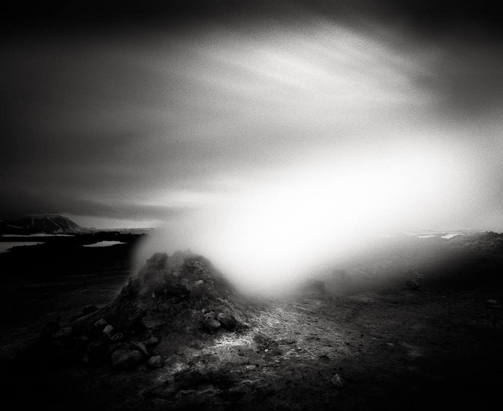 "Title: Smoking Land 3, Camera: Mamiya RB 67 Pro SD, Lens: Sekor 50 mm, Filter: Lee Big Stopper, Film: Kodak T-Max 100, Exposure: 120"", f 16, Eigg, Scotland, 2013"