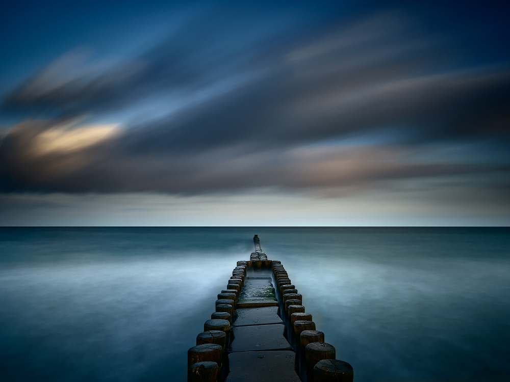 Long exposure photograph of the wooden and concrete structure near Ahrenshoop, Germany
