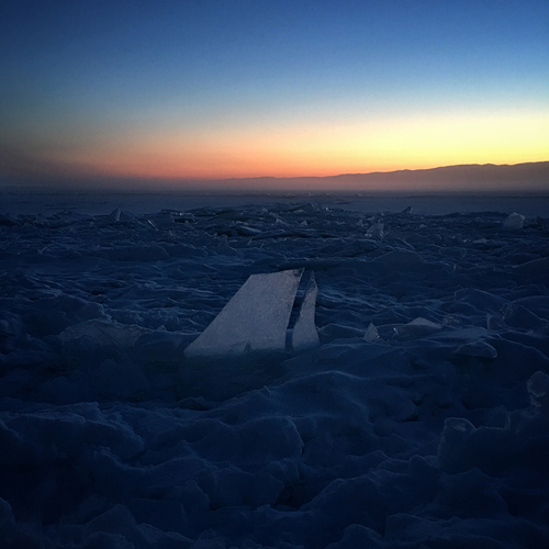 Classic sunset and the crashed plane