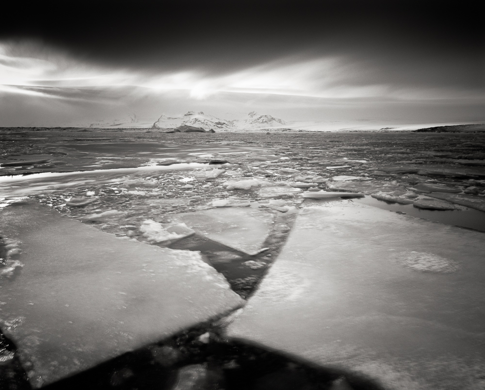 Title: Winter Flow, Camera: Ebony RSW 45, Lens: Rodenstock Apo-Grandagon 45 mm, Filter: Lee Big Stopper, Film: Kodak T-Max 100, Exposure: 400″ , f 16, Jokulsarlon, Iceland, 2012