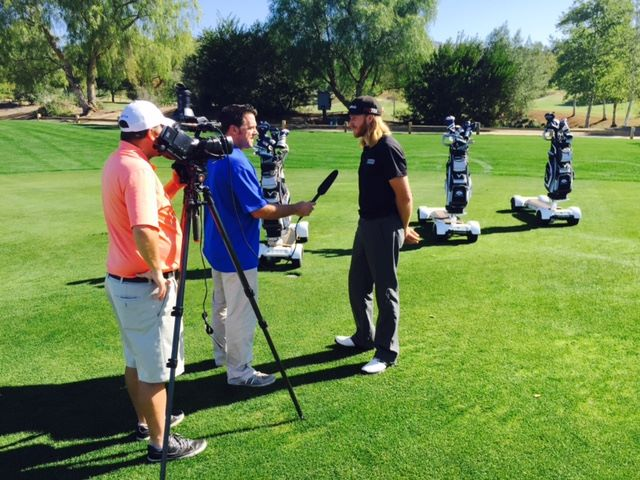 Brent Duclos, GolfBoard Sales Representative in San Diego, being interviewed by KUSI.