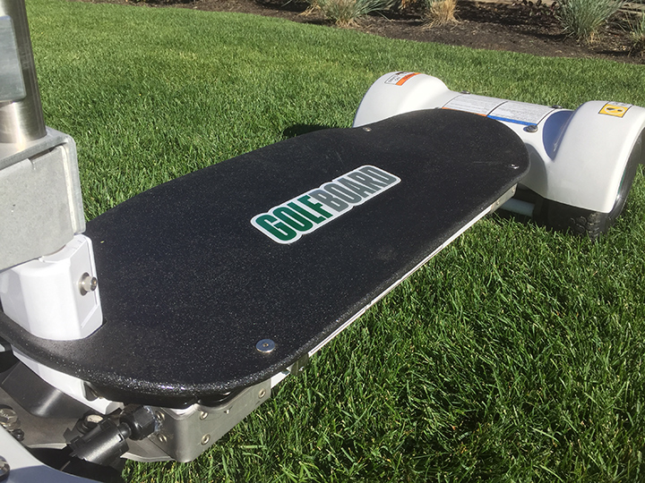 Durable non-skid Rhino Liner deck with GolfBoard logo