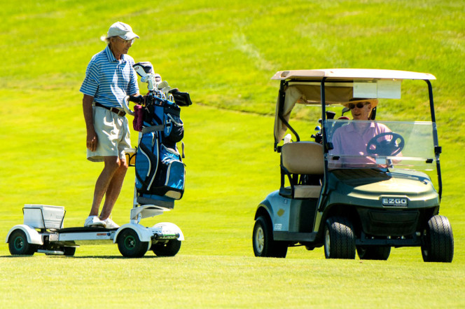John Haines, 77, of Garrison, N.Y., rides the GolfBoard. Photo: Andrew Theodorakis