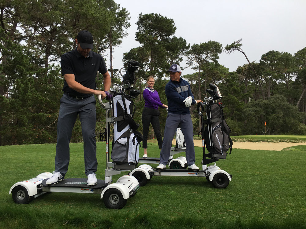 Jeff Ritter (right) gives GolfBoarding tips to Justin Verlander (left) while Kate Upton smiles for the camera (click picture for their GolfBoard video).