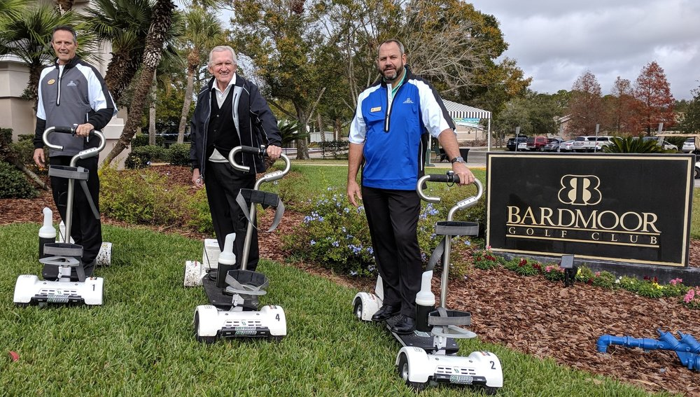 These gentlemen are ready for you to hit the trail! Pictures L to R: Bob Dailey/GM of Bardmoor Golf & Tennis, Charlie Staples/Owner of Fore Golf Partners, John Davis/GM of Bayou Club.