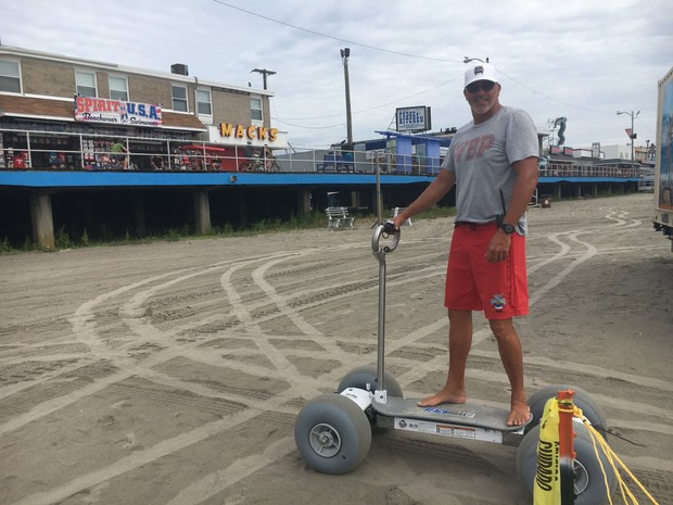 Steve Stocks, Chief of the Wildwood Beach Patrol, takes a BeachBoard for a ride Monday, August 13, 2018.  (Amanda Hoover / NJ Advance Media for NJ.com)