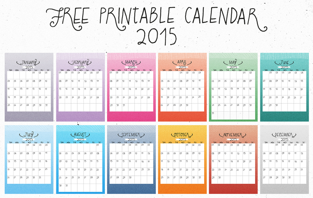 Freebie Friday: 2015 Ombre Calendar — Snail Mail Love