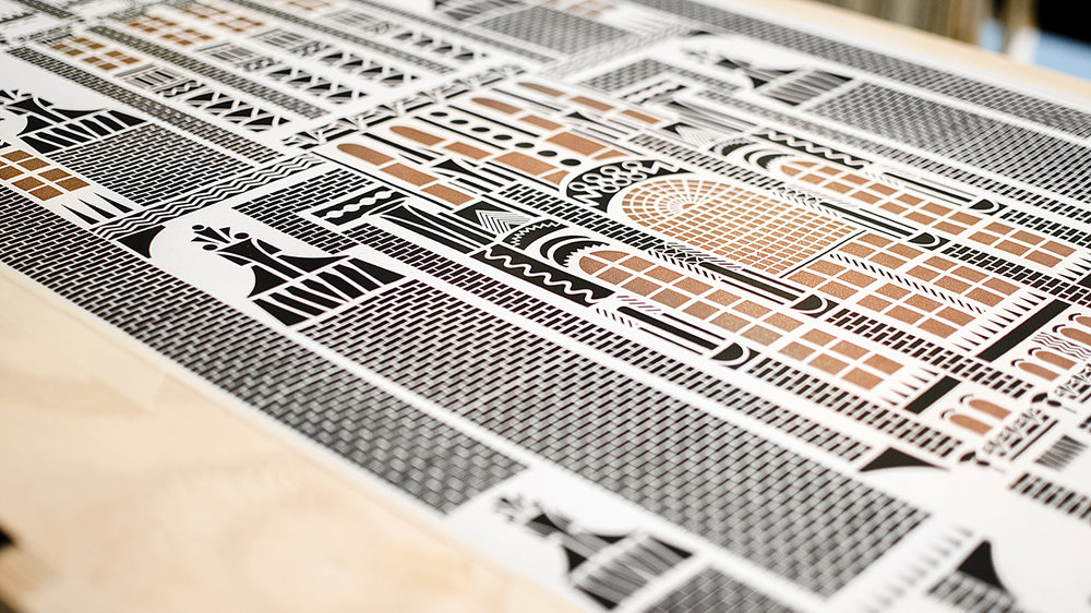 ▲ Lexington Print in copper and black by Daniel Heath at #LiveTheStory at Top Drawer