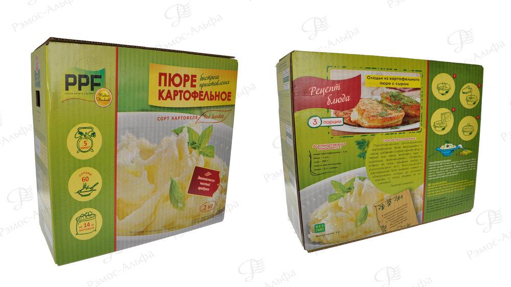 Короб нашего клиента  «Погарская картофельная фабрика» с рецептом на упаковке.