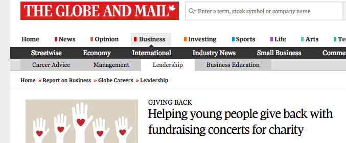 https://www.theglobeandmail.com/report-on-business/careers/careers-leadership/helping-young-people-give-back-with-fundraising-concerts-for-charity/article33620895/