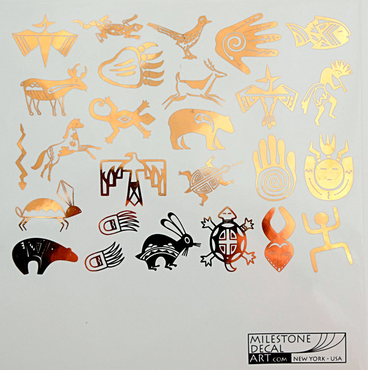 Native american indian decals with kokopelli for glass ceramic or enamel