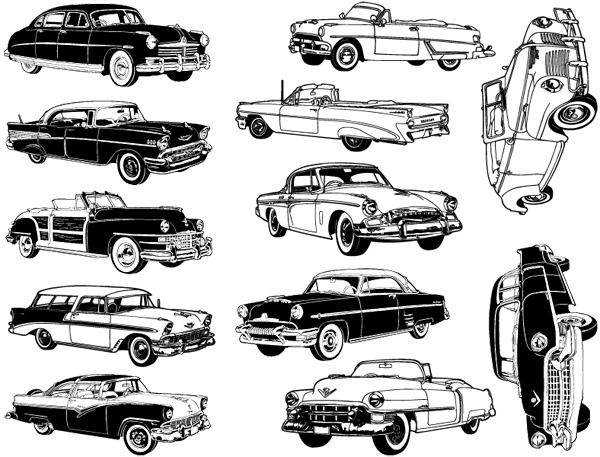 Large retro classic car decals for glass ceramic or enamel