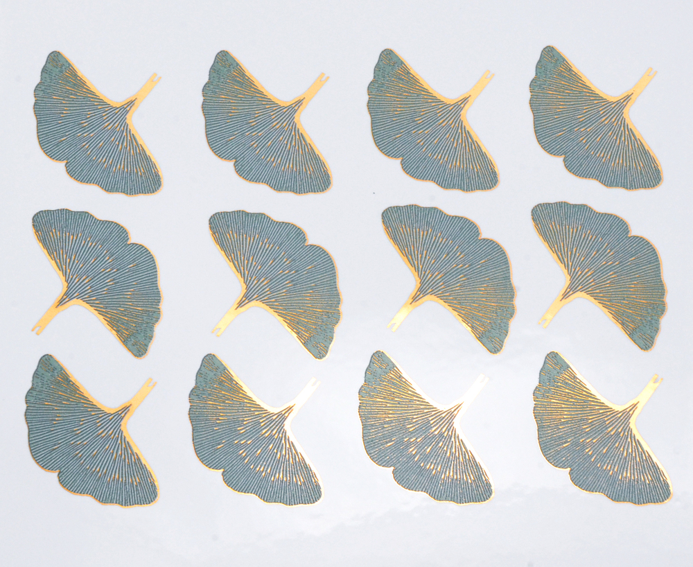 Light Blue+Gold Ginkgo Leaves