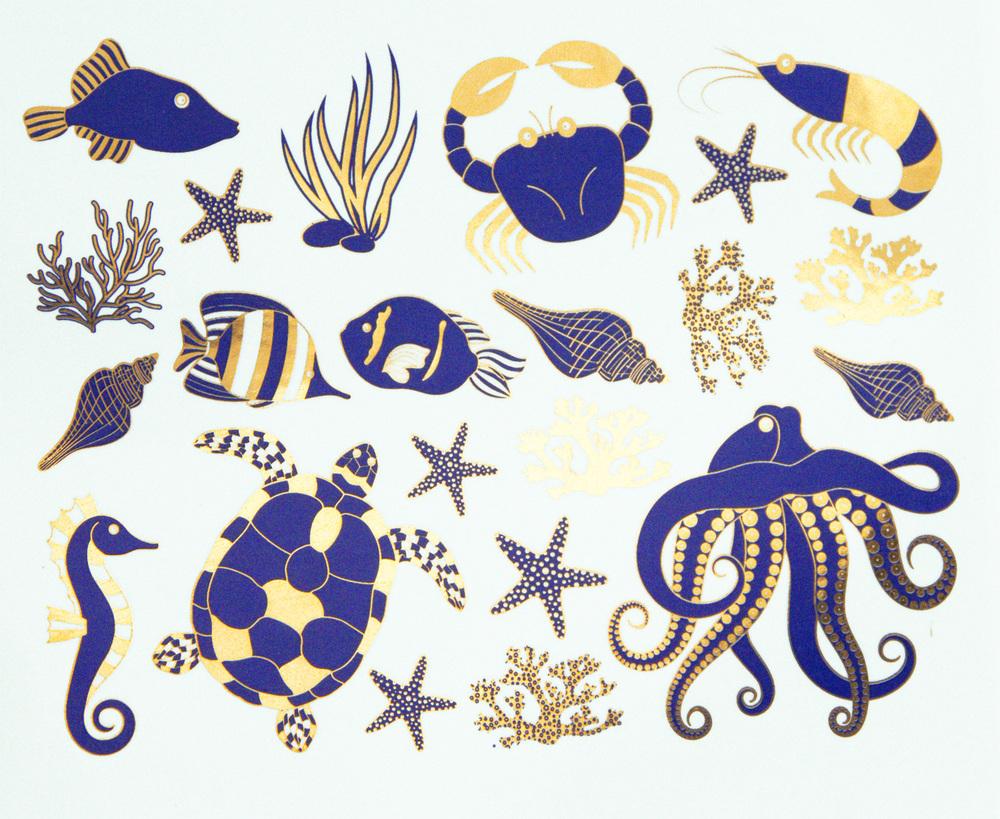 Delft Blue+Gold Ocean Creatures
