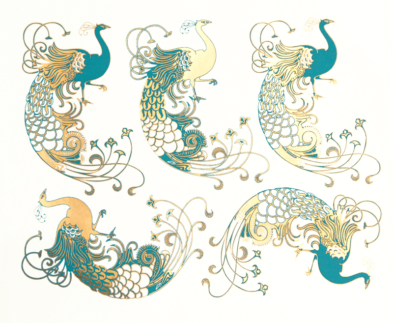 Turquoise+Gold Art Deco Peacocks