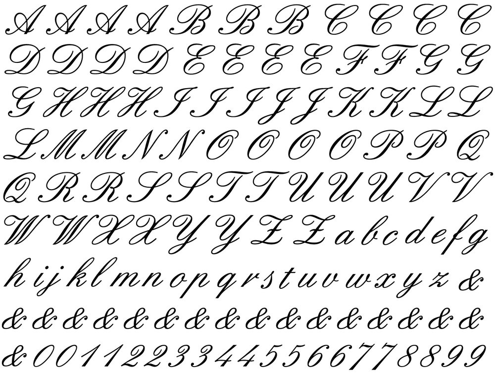 Cursive Alphabet Ceramic Decals Glass Decals or Enamel Decals