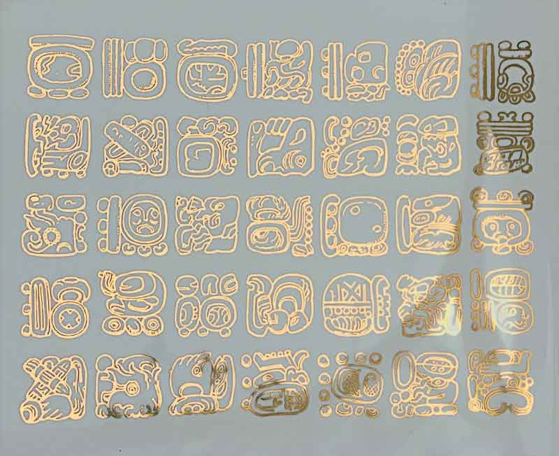 Mayan Glyphs Ceramic Decal Glass Decal Enamel Decal