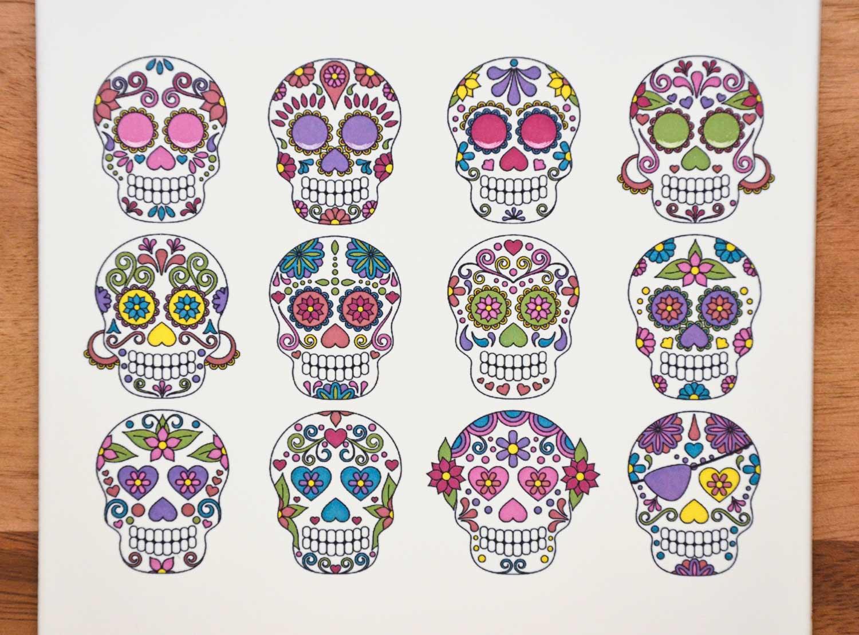 - Colorful Sugar Skulls - Not Foodsafe - Glass Fusing Decal, Ceramic