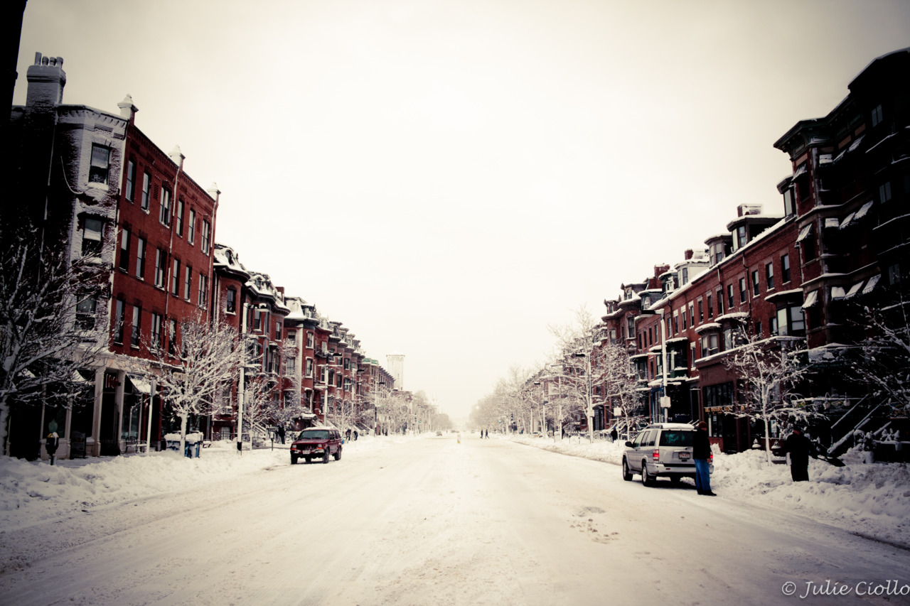 The South End is a ghost town today.   Taken on Tremont Street.