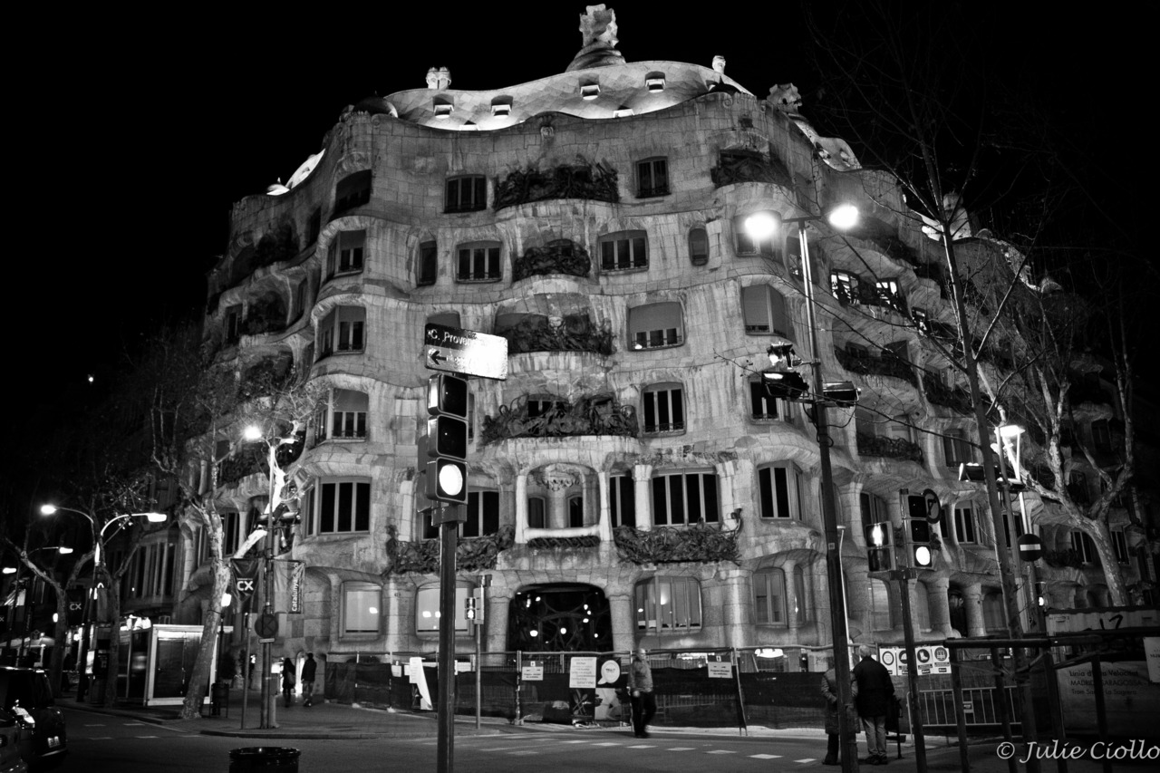 Casa Milà, Barcelona. This apartment building was designed by Antoni Gaudi and completed in 1912. His style of architecture really isn't my thing, but it's quite something to behold in person.
