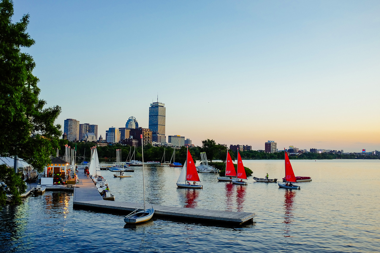 Always a great view from this side of the river.     Boston Esplanade     August, 2014.