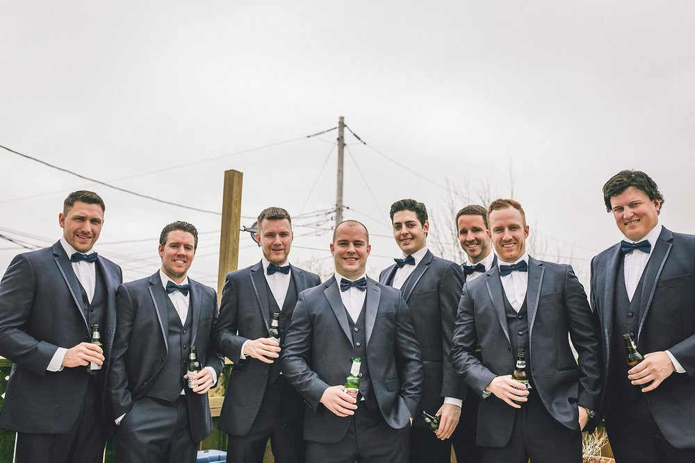 Groom and his groomsmen prepare for their wedding in St. John's, NL