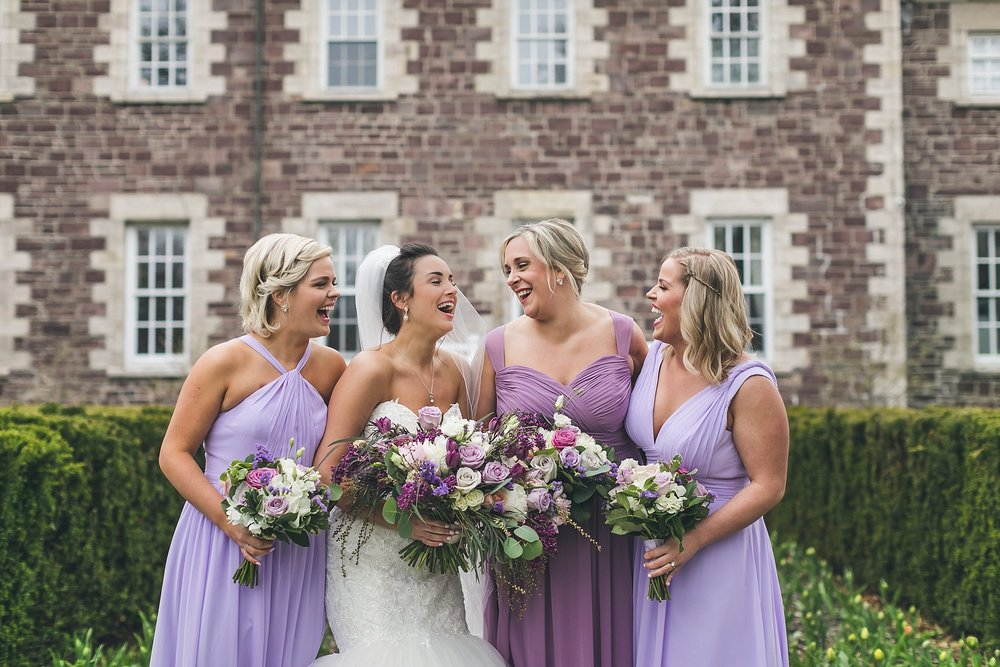 Bride and her Bridesmaids outside Government House during a St. John's, Newfoundland wedding