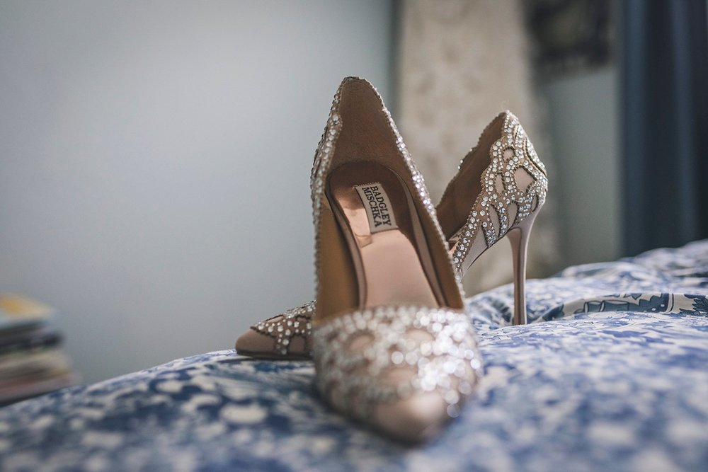 Badgley Mischka shoes before the bride wears them during her Wedding in St. John's, Newfoundland